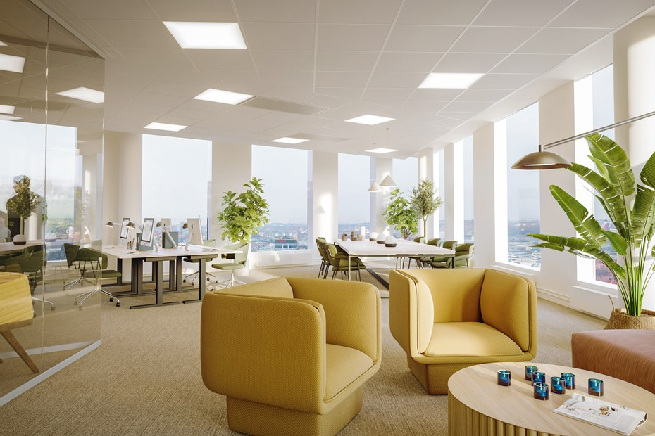 Flexible office interior design att Citygate, Gothenburg