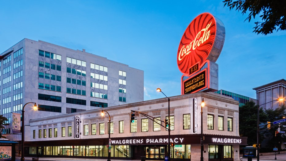 The Walgreens Co. wanted exterior and interior renovations and improvements to the iconic Olympia Building located on a busy intersection in the heart of downtown Atlanta. Our team developed a project specific safety plan that would address the safety of the general public surrounding the tight site. (Brian C. Robbins Photography Inc.)